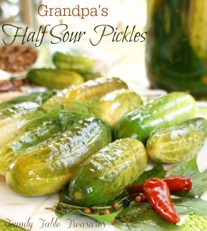 {Grandpa's} Half Sour Pickles