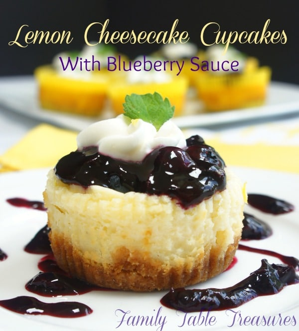 Lemon Cheesecake Cupcakes {with Blueberry Sauce}